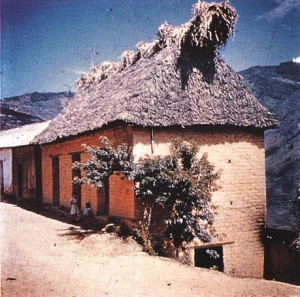"House where mushroom sessions took place is built of adobe, has thatch ""dog-ears"" over gable ends. Door, lower right, leads into ceremonial room."