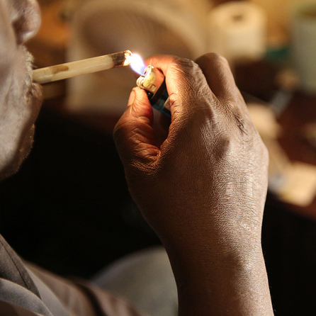 Smoking a pipe